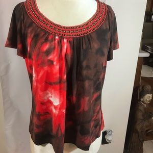 St John top tie dye reds and beaded neckline sz M